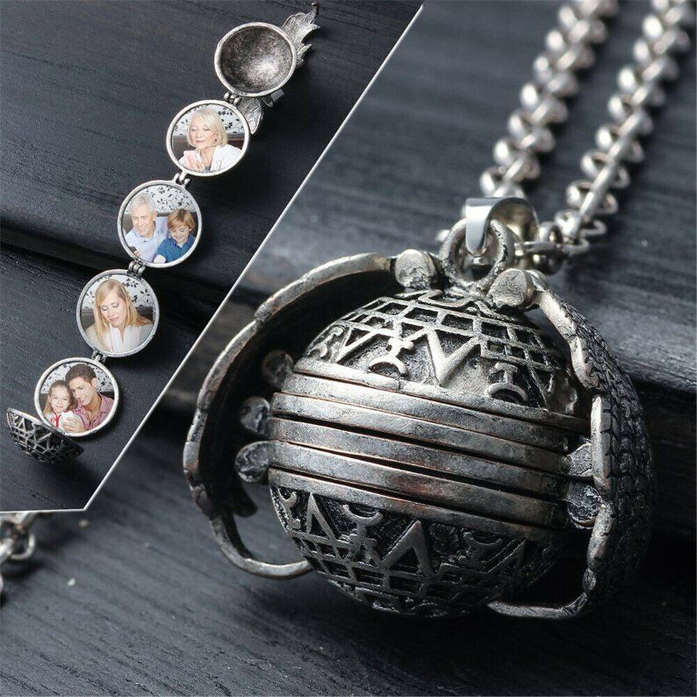 5 Photo Angel Wing Laurel Memorial Expanding Locket Necklace Family