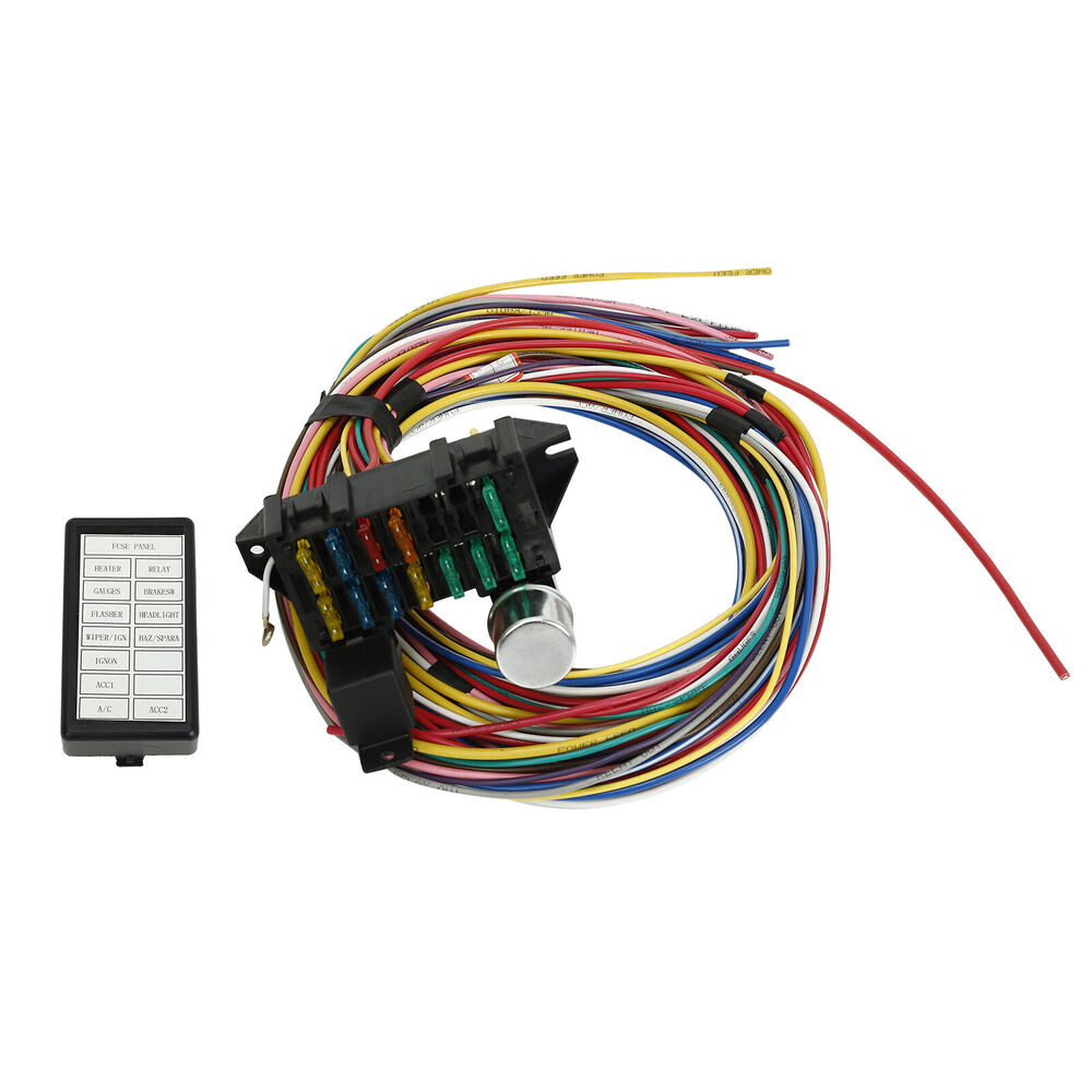 new 12 circuit universal wiring harness muscle car hot rod streetdetails about new 12 circuit universal wiring harness muscle car hot rod street rod xl wires