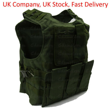 img-Green Tactical Vest for Airsoft Paintball / Molle Compatible with Mag Pouches