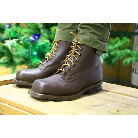 img-WW2 Swedish Army Work Combat Boots, Full leather BROWN VINTAGE NEW COOL