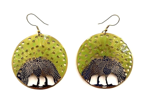 New Animal-themed Cosmetic Jewellery Peacock Earrings (Gold) Approx 51 mm