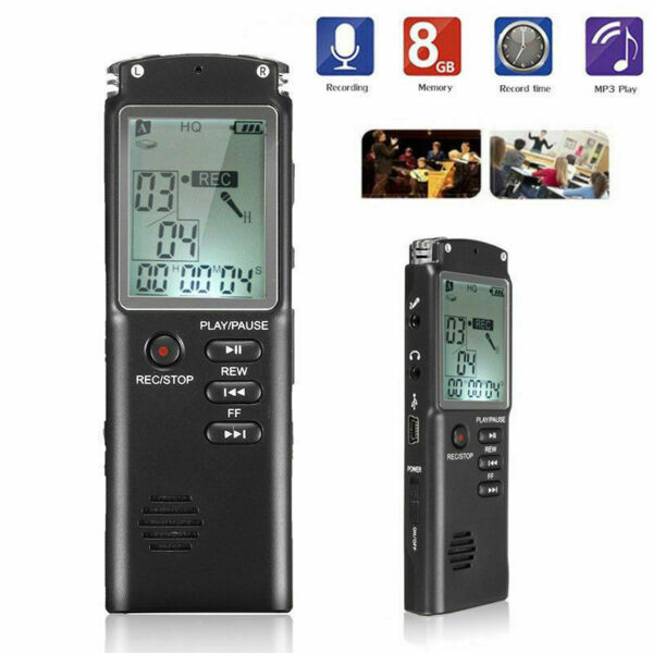 REGISTRATORE AUDIO VOCALE PORTATILE MP3 USB LCD DIGITALE VOICE RECORDER 8 GB