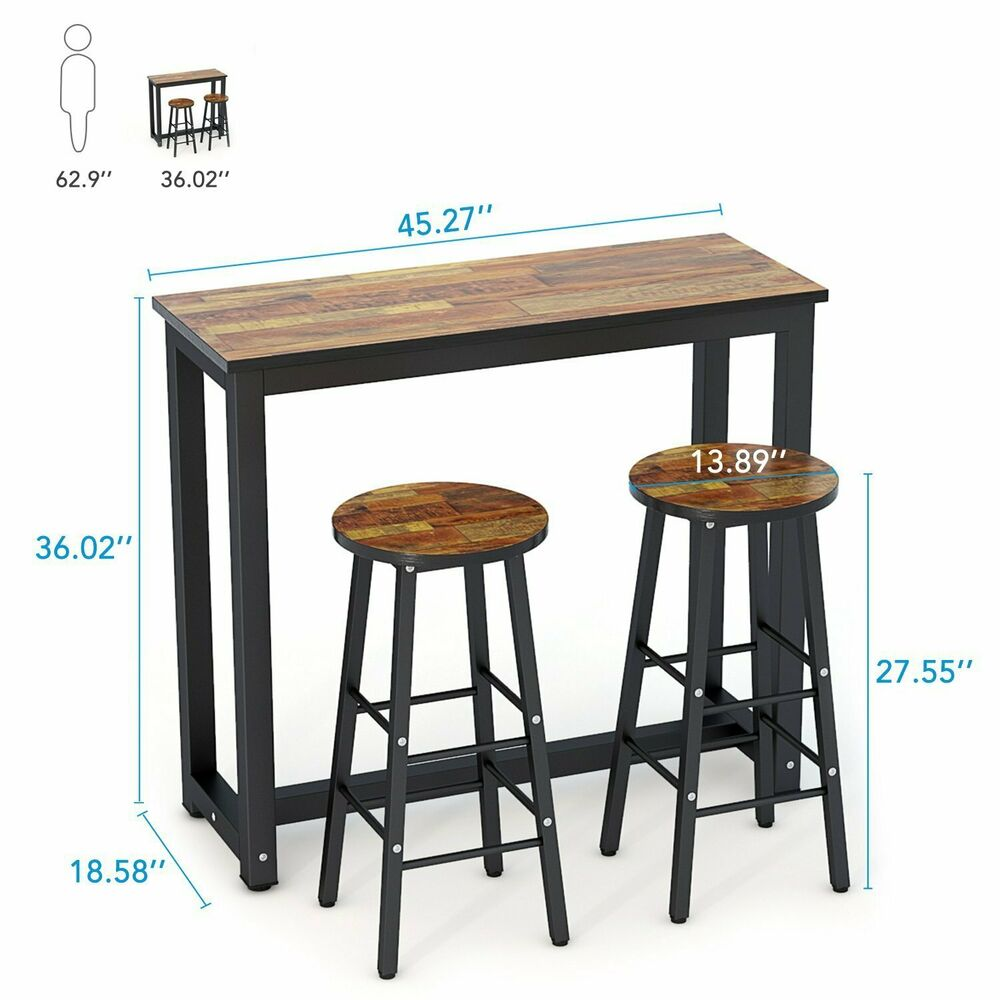 3 Piece Dining Set Bar Stools Pub Table Breakfast Chairs: Pub Table Set 3 Piece Bar Stools Dining Kitchen Furniture