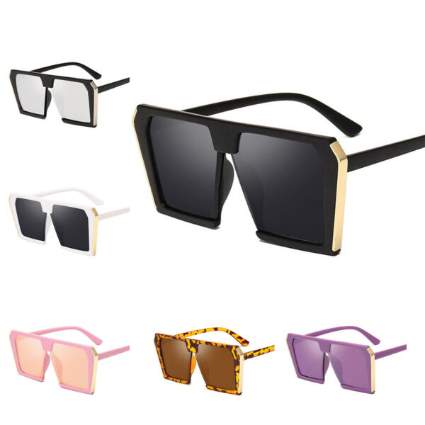 Women Sunglasses Oversized Square Half Frame Sun Glasses Flat Lens UV Eyewear