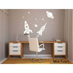 Rocket Wall Decal, Space Sticker, Stars Decal, Planet Stickers, Kids Room r1580