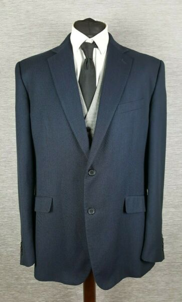 DeHavilland Mens Jacket Blazer 46L Long Blue Navy Bird Eye