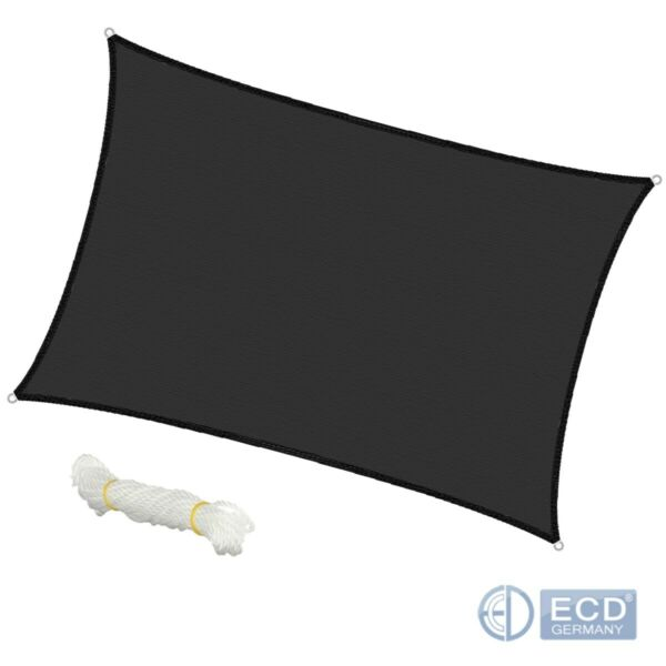 Voile d'ombrage protection UV solaire toile parasol rectangle 4x6 m anthracite