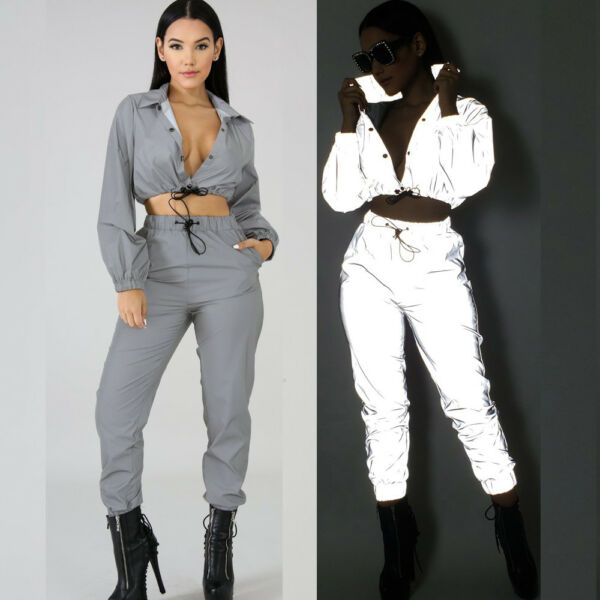 Women Crop Tops Pants Sets Two Piece Jumpsuit Playsuit Casual Reflective Outfits