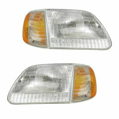 FIT FOR 1999 - 2003 FORD F-150 HEADLIGHTS & CORNER LIGHTS PAIR RIGHT AND LEFT