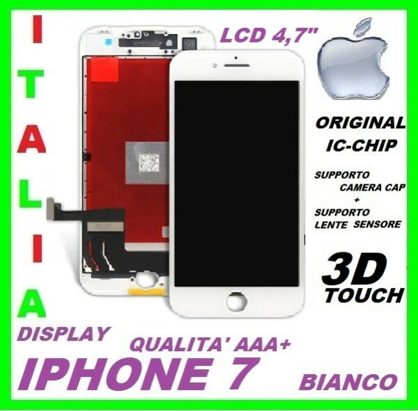 DISPLAY VETRO LCD ORIGINALE TIANMA TOUCH SCREEN APPLE IPHONE 7 BIANCO SCHERMO