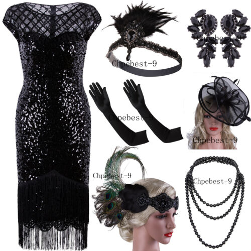 Women's Vintage 1920s Black Sequin Flapper Dress Art Deco Party Tea Gatsby Dress