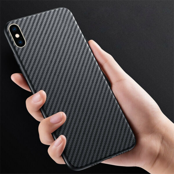 For iPhone XS Max XR 8 7 Slim Anti-Skid Carbon Fiber Soft Shockproof Cover Case
