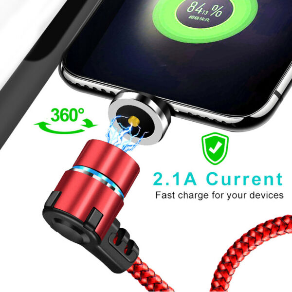 3FT L-Shape Micro USB C Type-C Cable Fast Charging Magnetic Charger Cable Cord