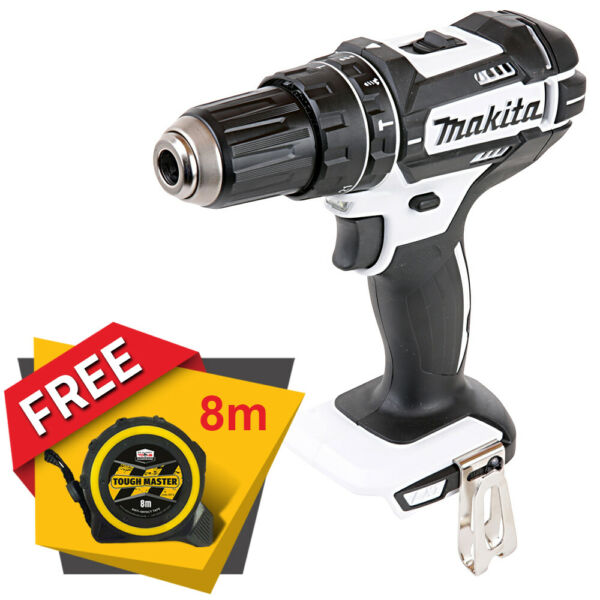 Makita DHP482 18v LXT White Combi Drill With Free Pocket Tape Measures 8M/26ft