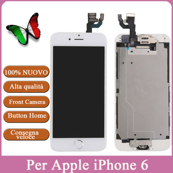 PER IPHONE 6 BIANCO ASSEMBLATO COMPLETO DISPLAY SCHERMO LCD & Home Button&Camera