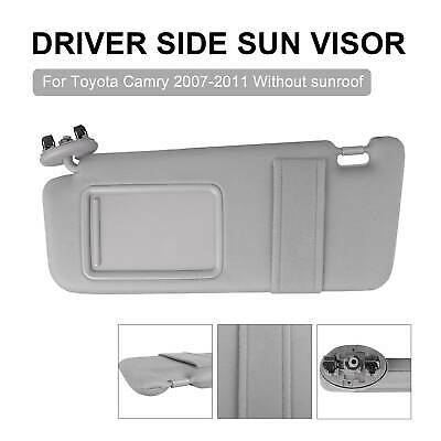 Driver Side Left Sun Visor without Sunroof for Toyota Camry 2007-2011 Gray