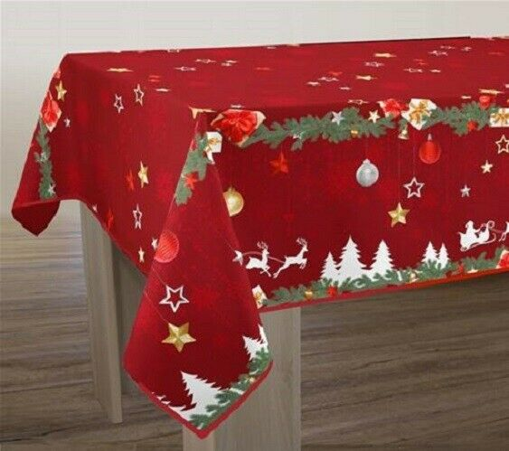 NAPPE ANTI-TACHES  RECTANGLE NOEL ROUGE  - GRIS -