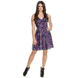 Hell Bunny Spin Doctor Skull Raven Purple Dress 8-22 Plus Size Goth Occult