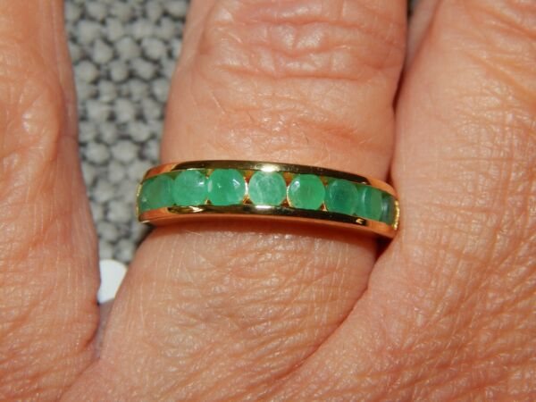 ZAMBIAN EMERALD HALF ETERNITY/STACKABLE RING-SIZE R-1.00CTS-WITH 14K GOLD