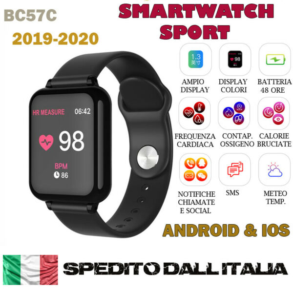 SMARTWATCH OROLOGIO B57C SMART BAND FITNESS TRACKER CARDIOFREQUENZIMETRO SPORT