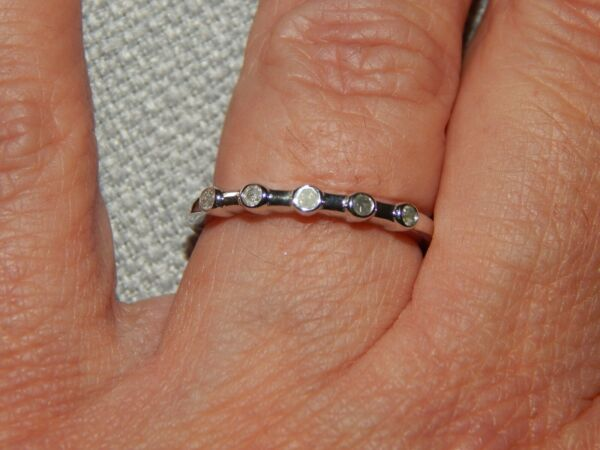 DIAMOND THIN BAND/STACKABLE RING - SIZE K - 0.100CTS - WITH PLATINUM
