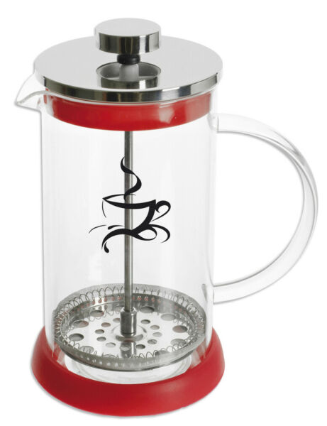 FRENCH PRESS 0,4 L Glas Kaffeebereiter Kaffeekanne Kaffee Rot