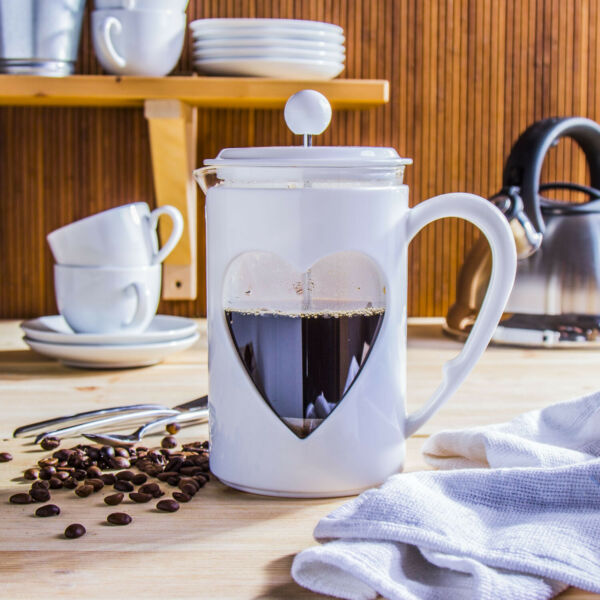 FRENCH PRESS 0,8 L Glas Kaffeebereiter Kaffeekanne Herz Weiß