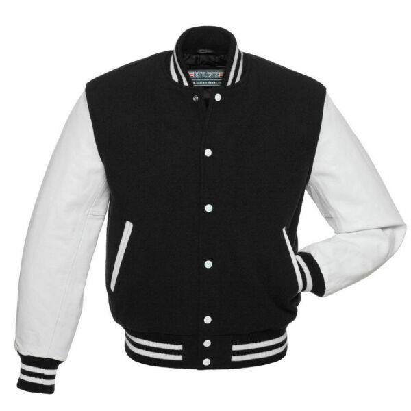 Black Wool Varsity Letterman Bomber Jacket With White Pure Leather Sleeves