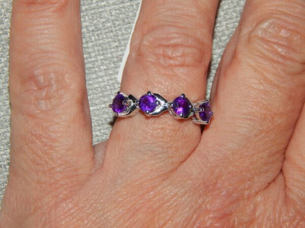 AMETHYST CONTEMPORARYBAND/STACKABLE RING-SIZE N-1.00CTS-WITH PLATINUM