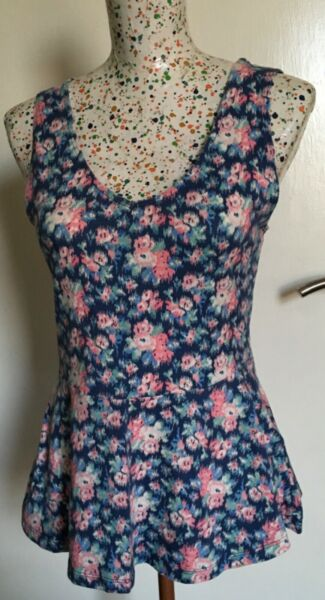 New Look Ladies Blue Floral Sleeveless Peplum Top Size 12