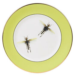 NEW Melody Rose Dragonflies Dinner Plate Green