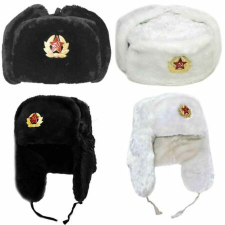 img-Black Russian Trapper Hat With Soviet Badge Faux Fur Ushanka Cossack Flaps Cap