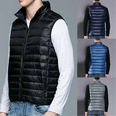 img-Winter Mens Quilted Vest Body Warmer Gilet Sleeveless Padded Down Jacket Coat