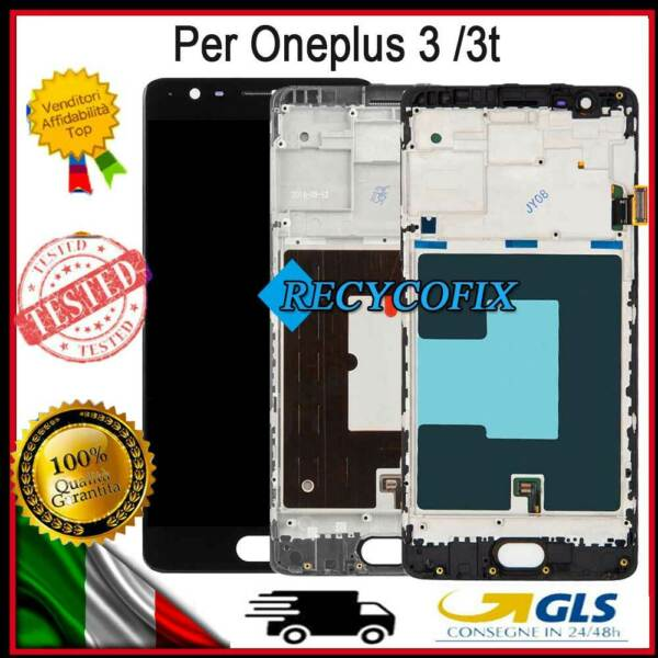 DISPLAY PER ONEPLUS 3 3T A3000 A3010 A3003 LCD SCHERMO VETRO TOUCH SCREEN+FRAME