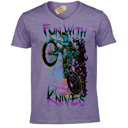 img-Fun with knives T-Shirt biker zombie demon T-Shirt Mens V-Neck