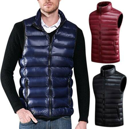 img-Mens Duck Down Quilted Gilet Vest Packable Sleeveless Lightweight Jacket Top