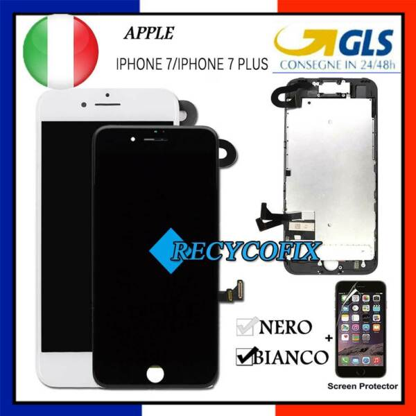 DISPLAY PER IPHONE 7 7 plus LCD TOUCH SCREEN SCHERMO VETRO COMPLETO ASSEMBLATO