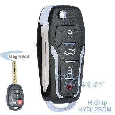 for Toyota Corolla 2014 2015 2016 Upgraded Flip H Chip Remote Key Fob HYQ12BDM