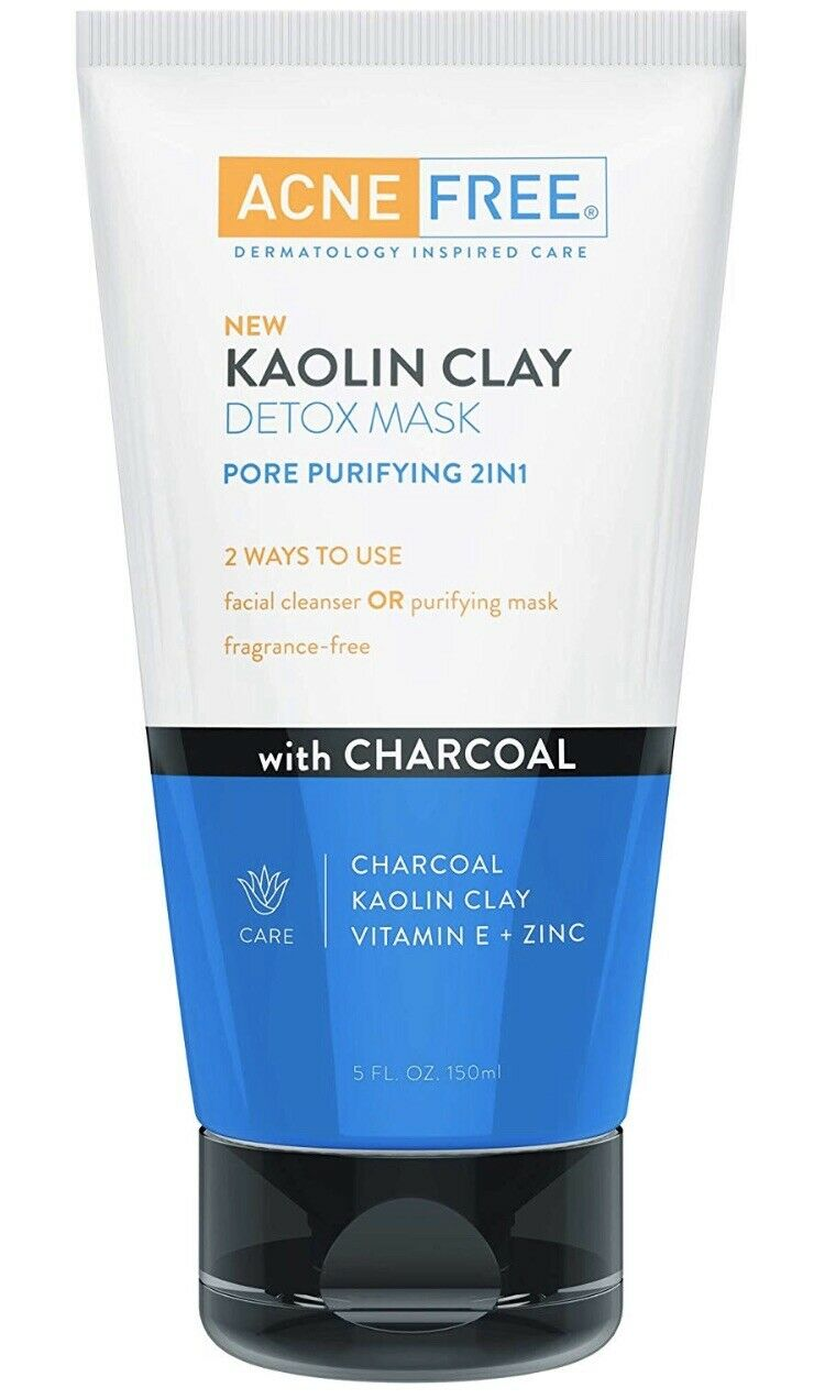 Acnefree Kaolin Clay Detox Mask & Cleanser Purifying With Charcoal 5 Oz.