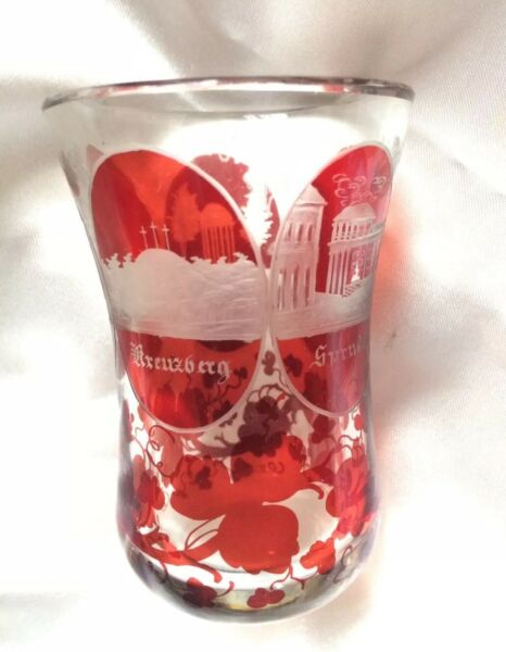 OLD VINTAGE BOHEMIAN RUBY FLASHED GLASS,STUNNING ENGRAVED SPA SCENES BUILDINGS