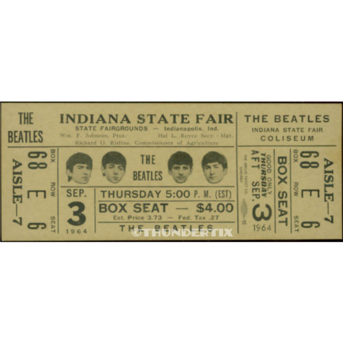 1  BEATLES VINTAGE UNUSED FULL CONCERT TICKET 1964  Indiana st. fair   laminated
