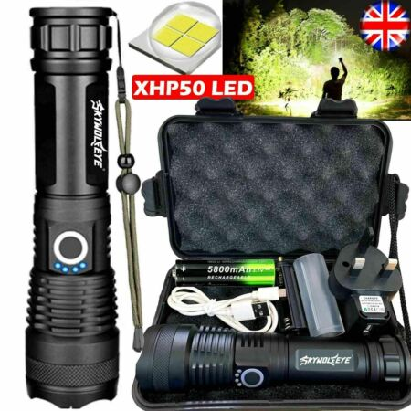 img-900000LM XHP50 LED Torch Flashlight Tactical Zoomable Rechargeable+18650 Battery