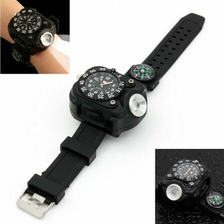 img-Military Digital Watch LED Flashlight Compass Outdoor Sports Watch Rechargeable