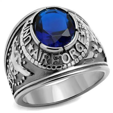 img-Stainless Steel Men's US Air Force Ring Blue Stone - Size U