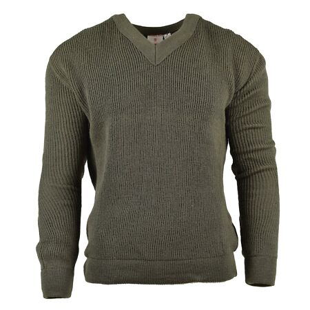img-ORIGINAL FRENCH ARMY SWEATER PULLOVER JUMPER CHLOROFIBRE WOOL V-NECK NEW