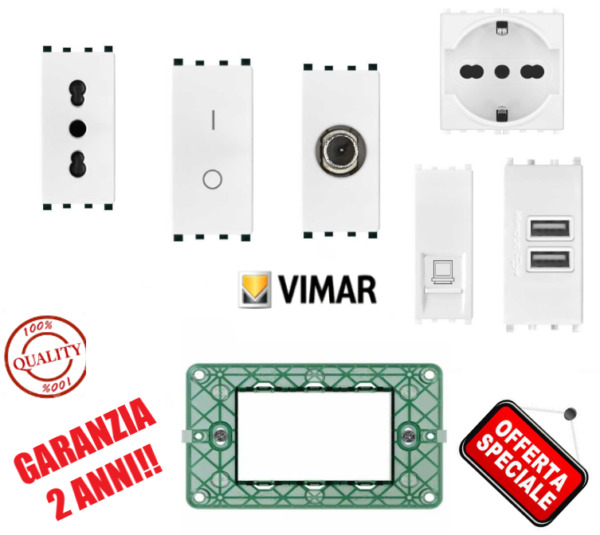 PRESA INTERRUTTORE SHUKO TV DIMMER USB LAN ETHERNET COMPATIBILE VIMAR PLANA