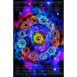 Kyпить Zodiac Chart Non-Flocked Blacklight Poster 24x36 inches на еВаy.соm