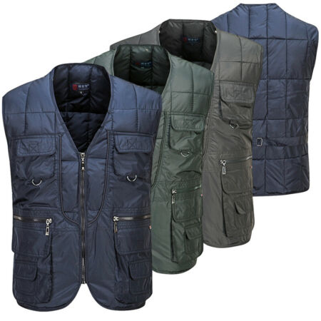 img-New Mens Gilet Quilted BodyWarmer Gilet Vest Jacket Zipper Down Cotton Waistcoat