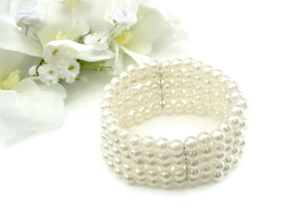 Faux Pearl Corsage Bracelet Base Part over 5 Rows stretchy Elasticated
