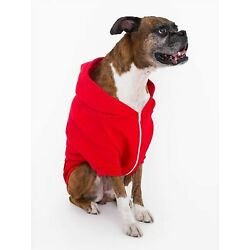 American Apparel Dog Collection Zip Fleece Hoodie, Red, Large, NEW